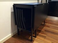 Ikea Drop-leaf table with 4 folding chairs