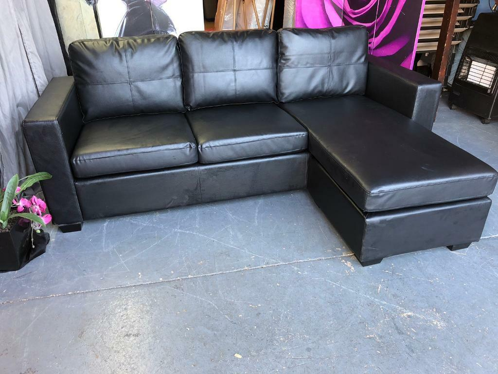 New Zara Reversible Black Faux Leather Corner Chaise Sofa