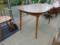 DINNING TABLE & TWO CHAIRS - VERY GOOD CONDITION NO DAMAGE CHAIRS NEED A POLISH/STAIN - CAN DELIVER
