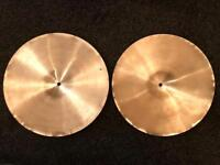"""Rare 60's 'THE' super zyn 13"""" hi hat cymbals"""