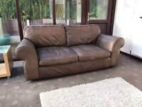 Laura Ashley HOME Rustic Brown Leather Sofa