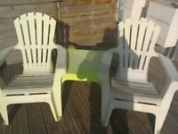 2 adirondack chairs and table