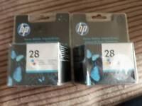 Hp 28 tri-colour ink cartridges 2 packs new