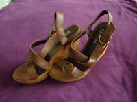 Next brown leather wedge sandals