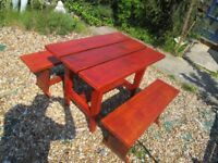 BESPOKE HANDMADE NEW GARDEN TABLE AND 2 BENCHES 40ins x 27ins x 31ins.