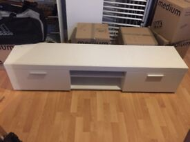 White television unit with storage