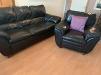 dfs black leather sofa set 3seater 2seater 1 arm chair.
