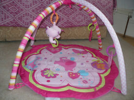 Bright Starts Baby Play Mat Gym Pink with Activity Musical Toys. Very good clean condition.