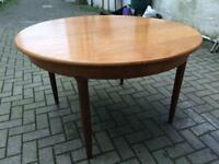 Vintage Retro Meredrew Teak Round Extendable Table style of G-Plan, Ercol, Nathan, 60's