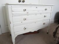 Large Painted three drawer chest of drawers.