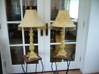 """2 x MATCHING LAMPS/LIGHTS - APPROX 30"""" TALL WITH BEADED FRINGING ON SHADES"""
