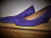 ladies size 6 purple suede wedge heel shoes by Gomma