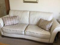 Cream leather Natuzzi 3seater Sofa & 2 Chairs