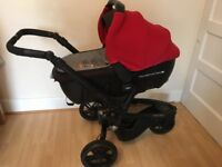 JANE TRIDER 3 WHEEL 'OFF ROAD' lay flat and seat pram in red