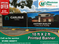 ************Printed Banner 10x2ft***************** Call Us Today -01494442211