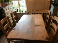 Dining table and chairs. Rustic solid furniture. Beautiful condition.