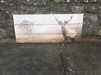 Stag wooden art picture