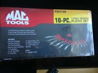 mac tools 10pc long plier set and bag
