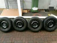 15 inch steel wheels and tyres from VW. Will fit most Audi, SEAT and Skoda