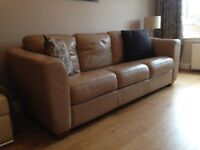 Leather 3 seater settee beige