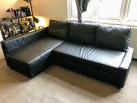 Black Corner Sofa Bed with Storage - IKEA FRIHETEN (RRP £495)