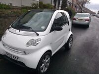 2003 Smart City Pulse Turbo - Polar White. Private plate now off and relisted - repair or spares.