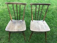 2 x Ercol blue label stick back dining chairs 391 All Purpose