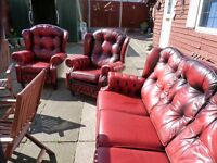 CHESTERFIELD MONKS STYLE LEATHER SUITE, 3 SEATER + 2 ARMCHAIRS, EXCELLENT CONDITION, BARGAIN £695