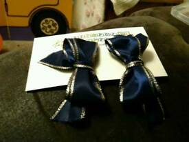 Handmade Navy Blue Bow Hair clips