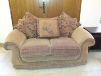 Sofa, two seater fabric sofa with reversible cushions. Excellent condition. Non-smoking home.