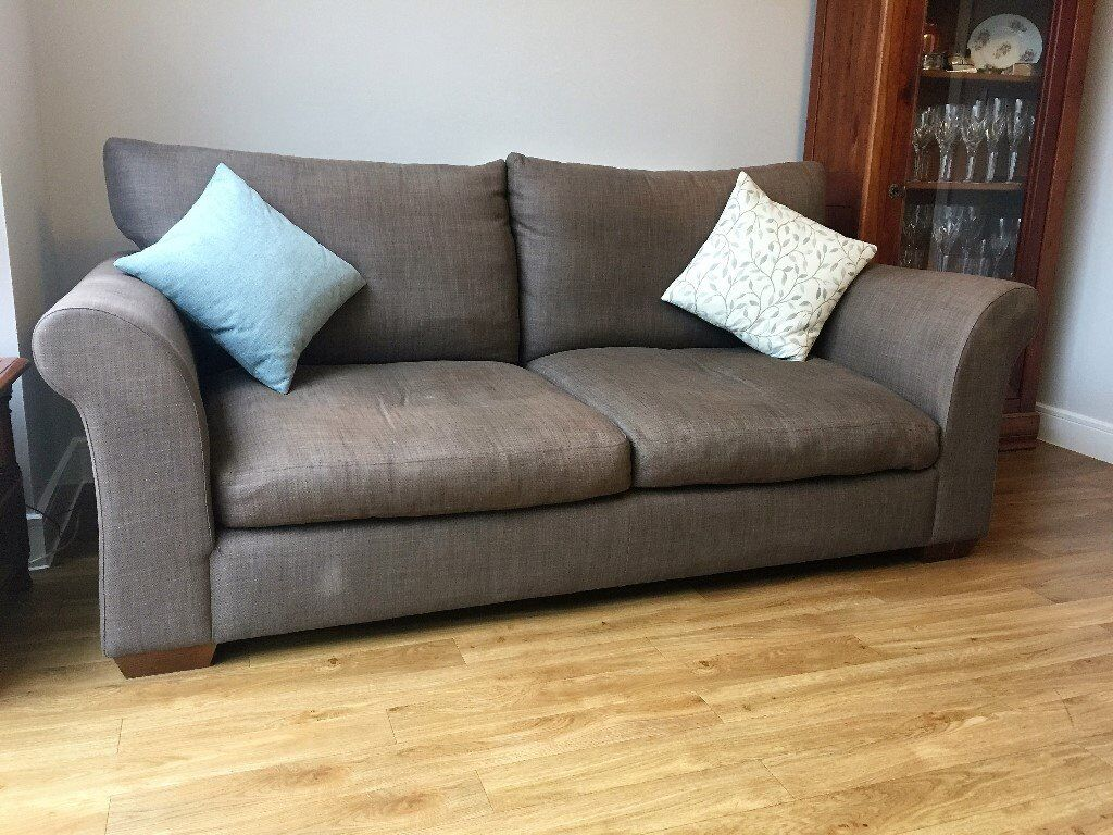 Large Brown Fabric Sofa