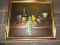 Original still life oil painting in gold frame