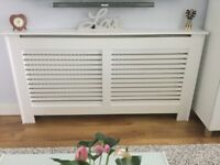 White B and Q New Suffolk radiator cover with slatted front