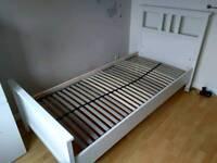 Ikea Hemnes Single Bed Frame & Lonset Base, 211cm long, White