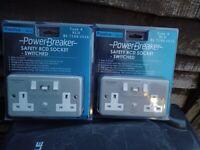 2 brand new rcd metalclad twin sockets