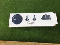 3 piece Pebble Grey Bathroom Accessory Set - toilet roll holder, towel rail and holder. New in box.