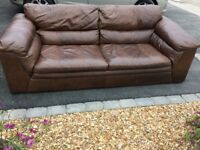 DFS Brown leather sofa Rrp £1500 Seriously Comfy