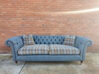 Blue & Green Check MARKS & SPENCER M&S Chesterfield 3 Seater Sofa