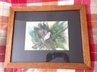Woodcock print in an antique oak frame