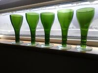 Wine glasses made of green recycled wine bottles x 5