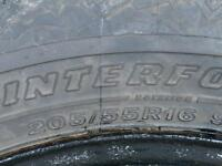 Tires on Rims = from a Subaru Impreza Firestone Winterforce M&S