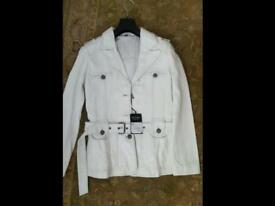Ladies size10 white leather jacket