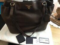 Prada leather handbag dustbag card