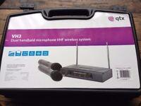 QTX Dual Handheld Microphone VHF Wireless System