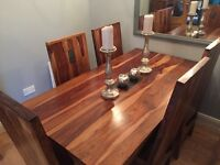 Solid sheesham table and chairs for sale