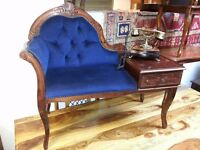 beautiful antique telephone chair and telephone. excellent condition.