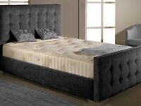 Brand New Charcoal Fabric Double Bed with Mattress