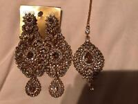 Brand new earrings and head piece set