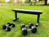 Hex Dumbell Set 20kg Each and a Smaller Set of Dumbells 8kg each and a Marcy Bench