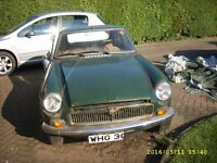 Classic MGB. Requires body work doing. Hard top. British Racing Green. Project Job